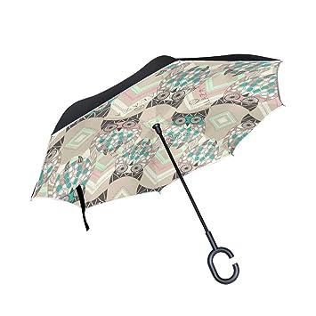 Mnsruu Paraguas invertido con patrón de búho, Doble Capa, Paraguas Plegable Resistente al Viento