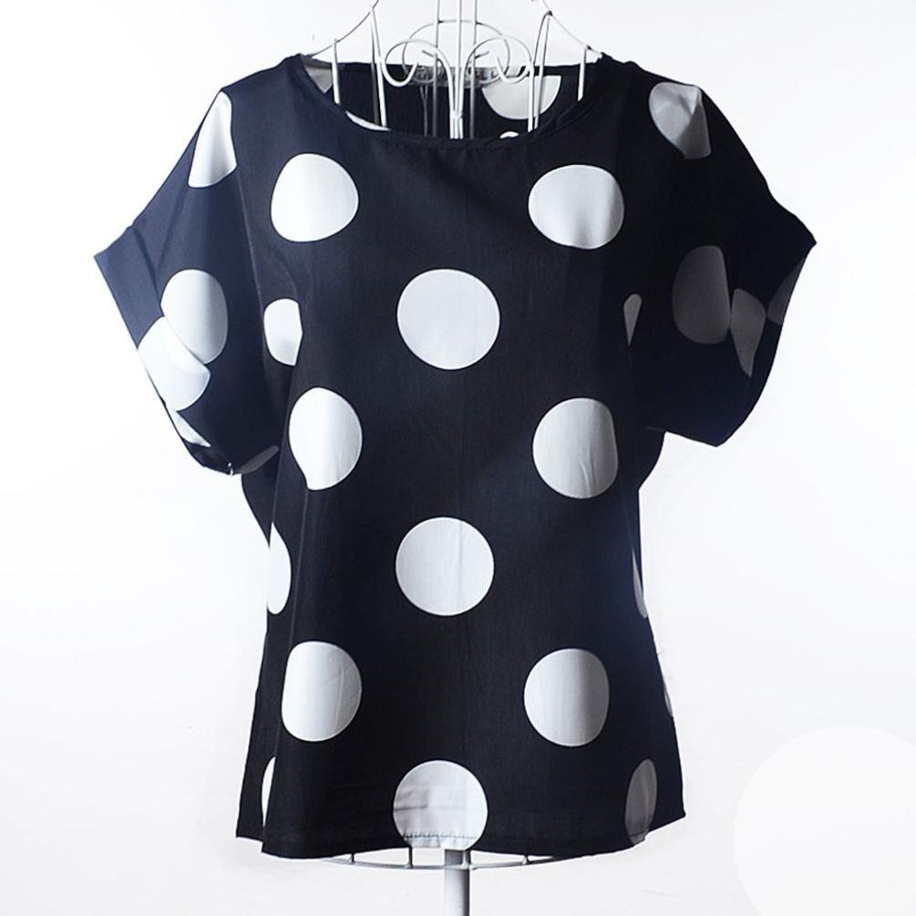 Laimeng Women Blouses Short Sleeve Casual Flower Print Tropical Chiffon Shirt (L, Black)