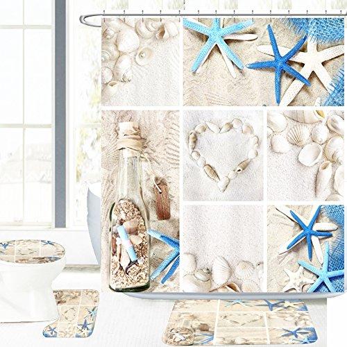 Amagical Blue Starfish Seashell Conch 16 Piece Shower Curtain Bathroom Mat Set Wishing Bottle Love Stone Design Bath Mat + Contour Mat + Toilet Cover + Shower Curtain + 12 Hooks (Shell Conch Blue)