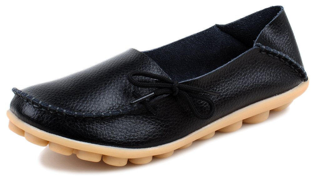 Kunsto Women's Leather Casual Loafer Shoes US Size 9.5 Black