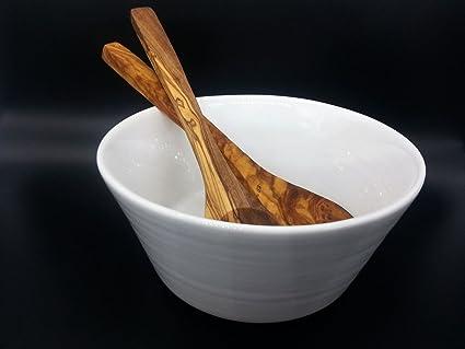 Portugués cerámica, cuenco de servir, incluye cubiertos de madera de olivo, hechas a