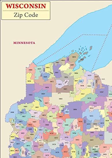 Wisconsin Zip Code Map Amazon.: Wisconsin Zip Codes Map (36