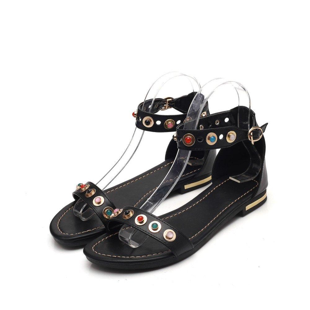 save off 5c1ff 4645d Sandalen, Flat Heels, Bauml nder, Strass, Pailletten, Sandalen, College  Fashion Schuhe 38 EU Schwarz - sommerprogramme.de