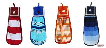 Mandhania Cotton Washbasin Napkin (Multicolour) - 4 Pcs