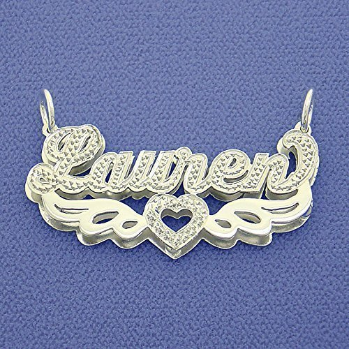 Silver 3D Double Plates Diamond Accent Nameplate Angel's Wings Pendant by Soul Jewelry Inc