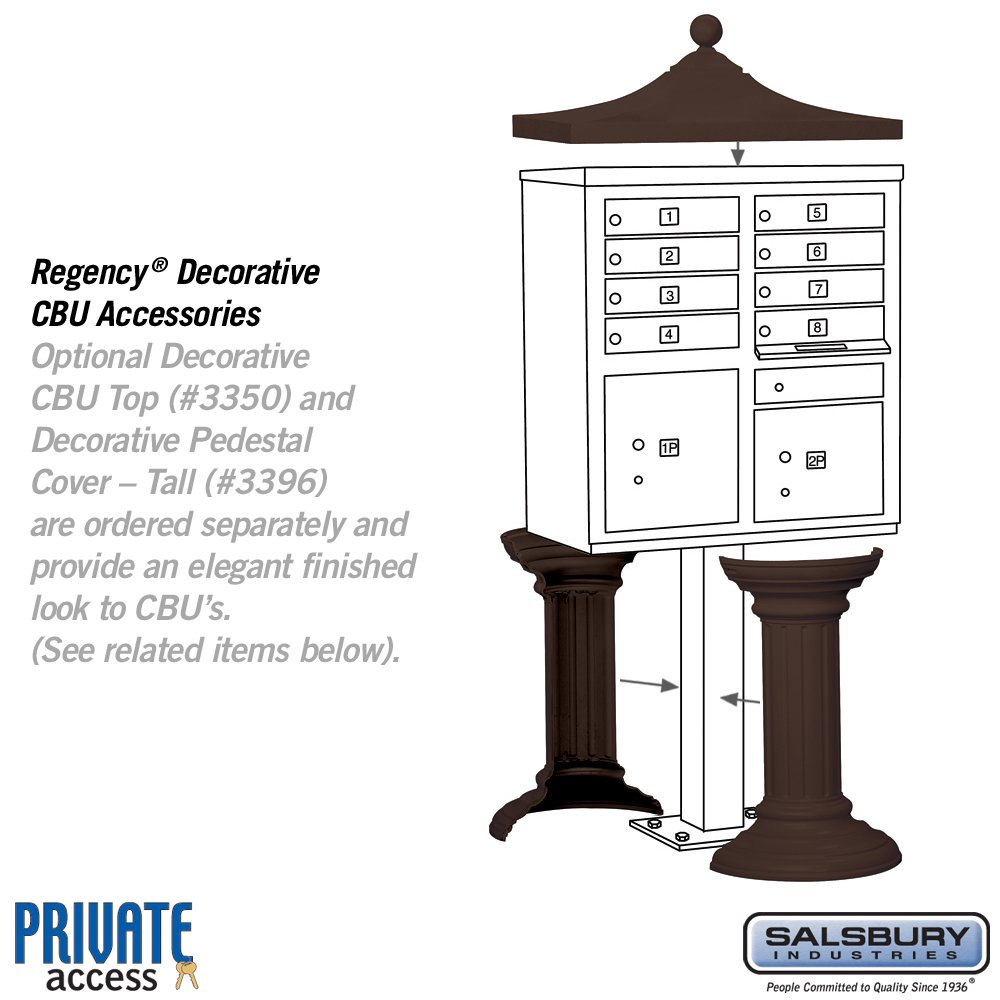 Salsbury Industries 3308BRZ-P Cluster Box Unit with Pedestal and Master Locks, 8 A Size Doors, Type I, Bronze
