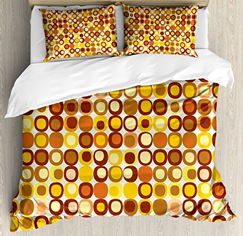 Ambesonne Mid Century Duvet Cover Set, Retro-Themed Styled Round Edged Square Pattern in Old Earth Tones, Decorative 3…