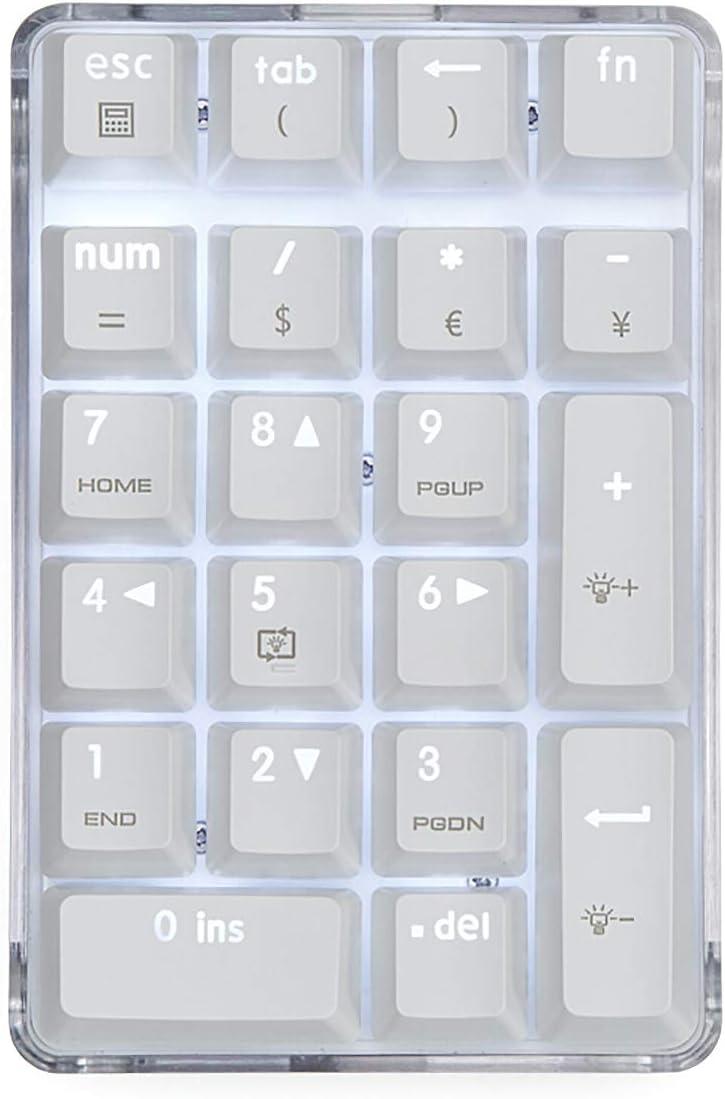 Mechanical Numeric Keypad GATERON Brown Switch Wired Gaming Keypad Crystal Case White Backlit 21 Keys Mini Numpad Portable Keypad Extended Layout White Magicforce by Qisan