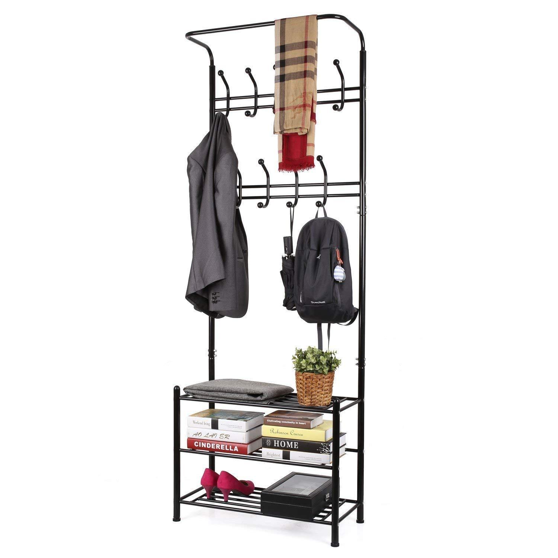HOMFA Metal Entryway Coat Shoe Rack 3-tier Shoe Bench with Coat Hat Umbrella Rack 20 Hooks (Black 18 Hooks)