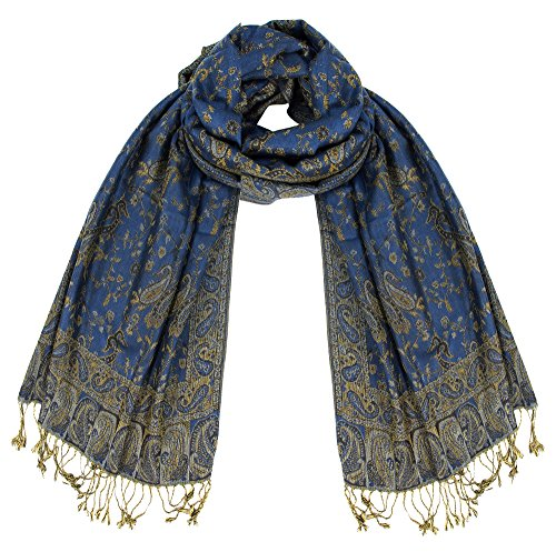 Peach Couture Elegant Double Layer Reversible Paisley Pashmina Shawl Wrap Scarf (Midnight Blue)