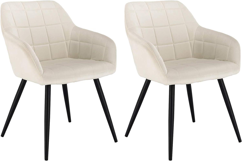 WOLTU® Esszimmerstühle BH93cm 2 2er Set Küchenstuhl Polsterstuhl Wohnzimmerstuhl Sessel mit Armlehne, Sitzfläche aus Samt, Metallbeine, Cremeweiß