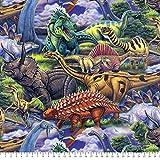 Dinosaurs Roam Anti-Pill Fleece Fabric By The Yard