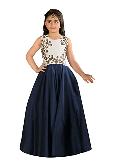 eab86a9ae71b9a Cartyshop Girl's Latest Pure White Satin Silk N Navy Blue Badla Zari  Embroidery Umbrella Cut Flair