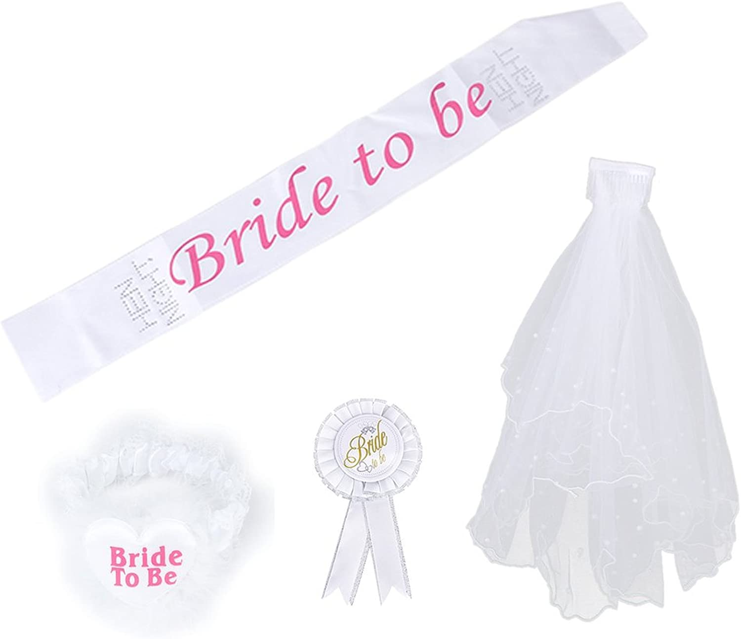 New Ladies Hen Party Wedding Bride To Be Tiara With White Veil Fancy Dress Party