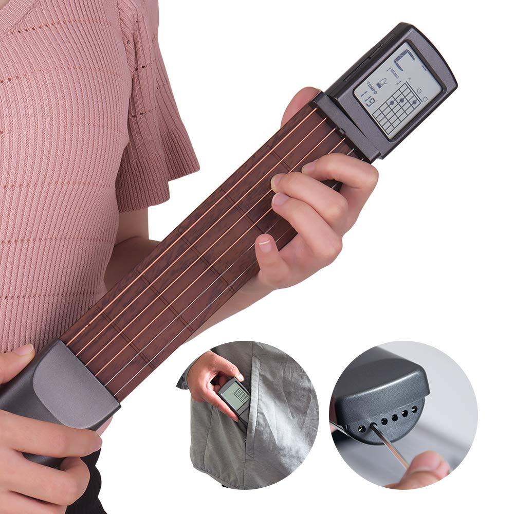 Muslady Guitare de poche 6 cordes Cord Chord Trainer Outil de pratique de la guitare folk Gadget 6 frettes avec /écran daccords rotatifs pour la pratique du doigt/é