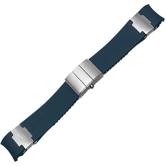 22 mm Correa de reloj de goma azul banda apto Ulysse Nardin Marine Diver reloj