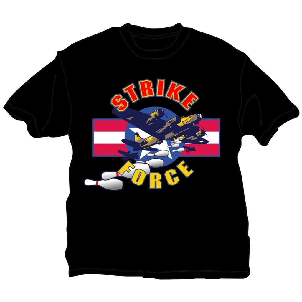 Strike Force Bowling T-Shirt- Black (X-Small, Black) by Bowlerstore Products