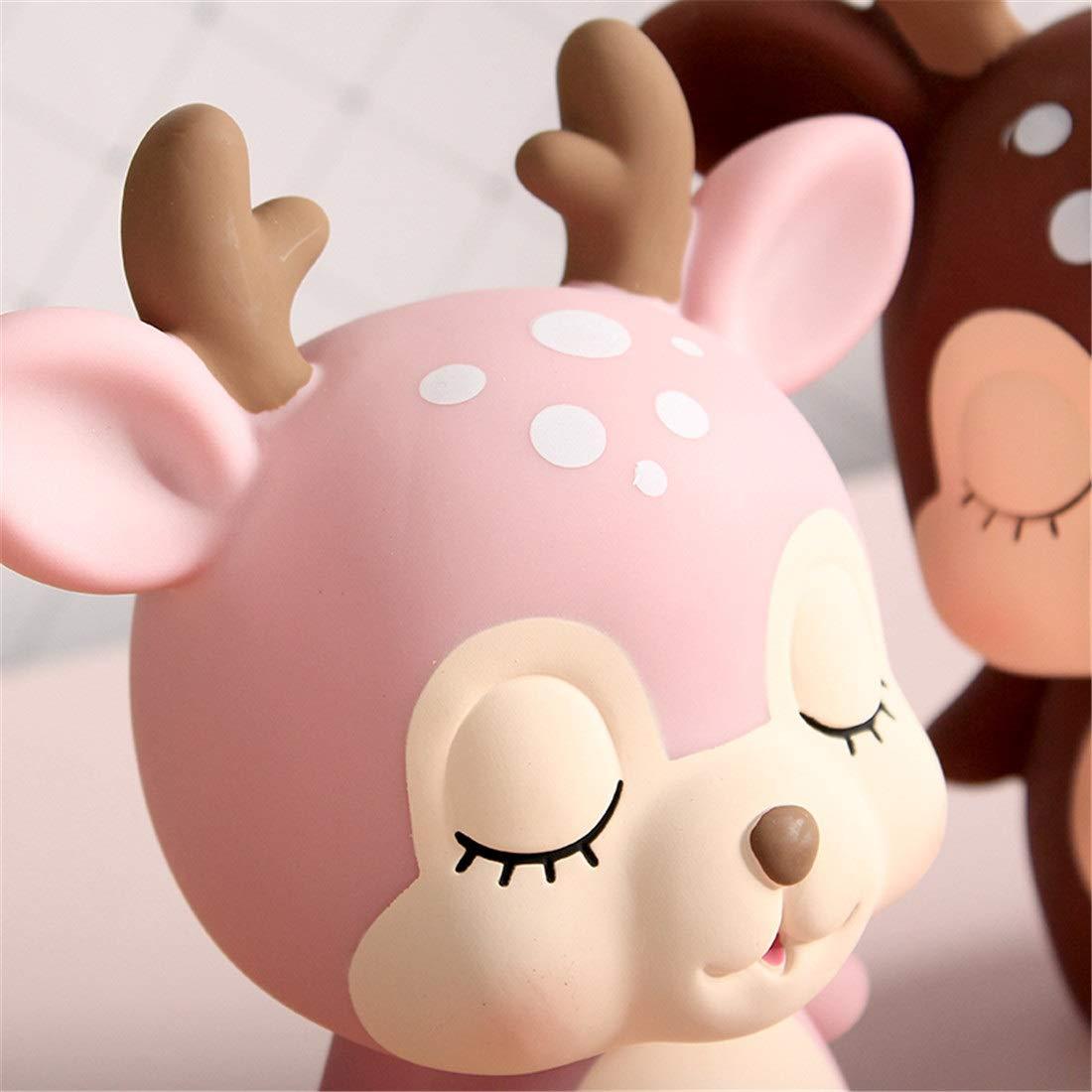 Perfect Home Fawn Creative Cute Child Drop Net Red Piggy Bank Cartoon Boy Girl Piggy Bank Decoration Piggy Bank Female Durable Color : Pink