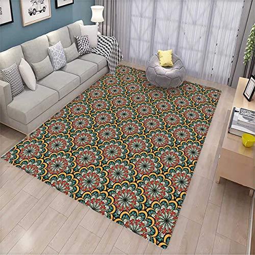 (Mandala Girls Bedroom Rug Flourishing Nature Design with Paisley Motif Bohemian Arabesque Pattern Bath Mats for Floors Seafoam Marigold Red)