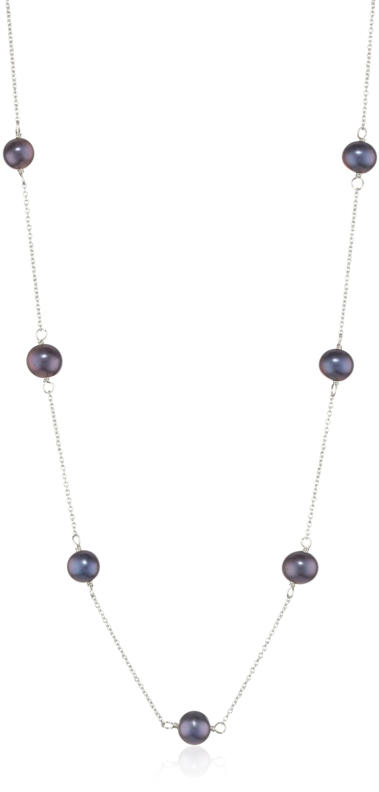 Bella Pearl Black Pearl Tin Cup Necklace, 20''