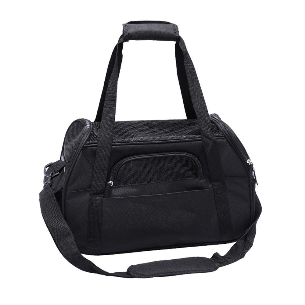 BLACK JJL Soft Sided Collapsible Pet Travel Carrier for Medium Puppy and Cats (color   BLACK)