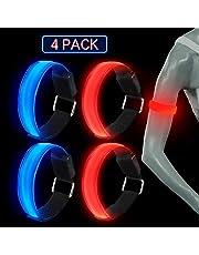 TABIGER 4 Pezzi LED Bracciale, Fascia da Braccio LED Fascia Catarifrangente per Correre Jogging Dog Walkers Correre e Altri Sport all'aperto