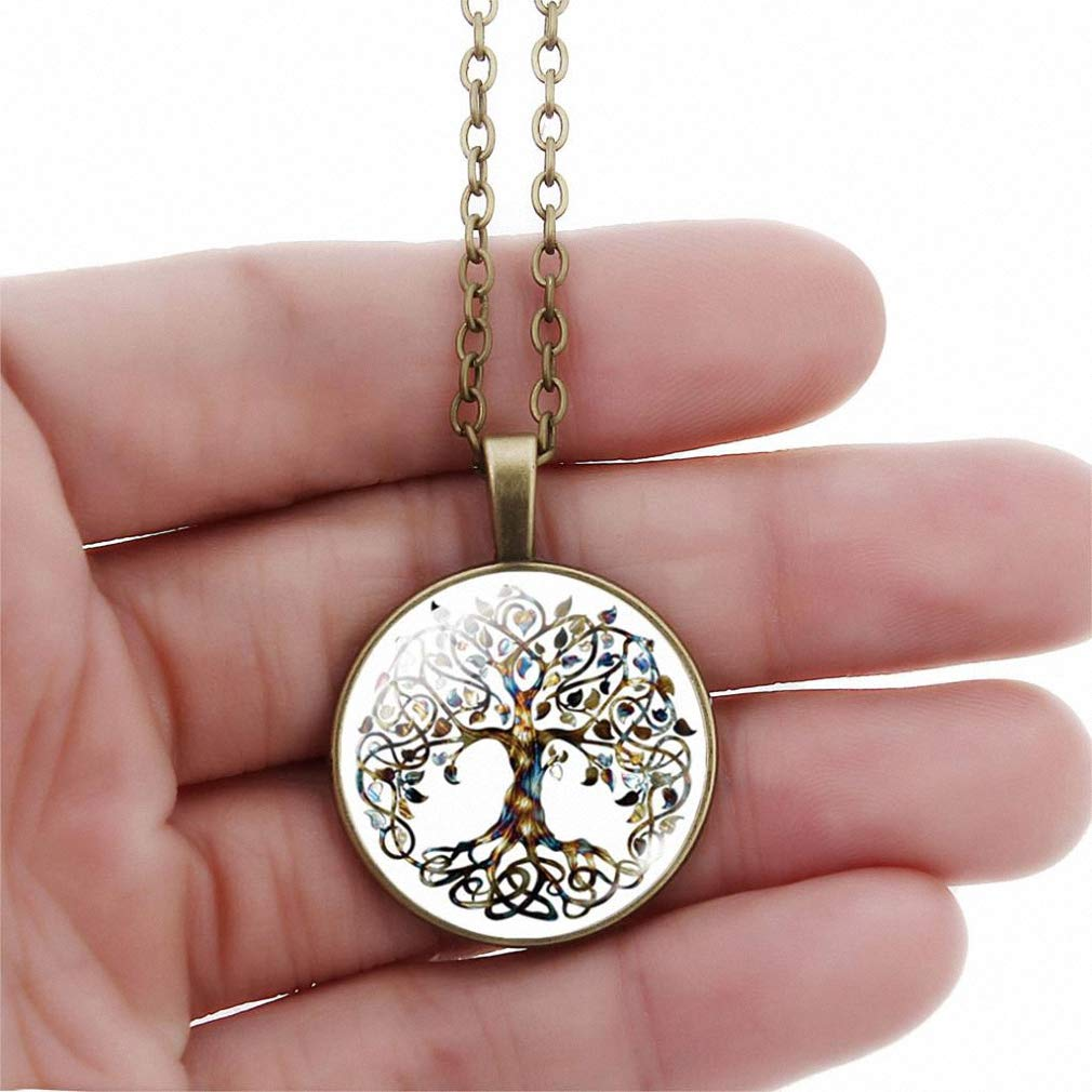 Womens Pendant Necklace New Tree of Life Dome Glass Pendant Necklaces Women Necklaces Jewelry Vintage Bronze Chain Long Statement Necklaces Gift