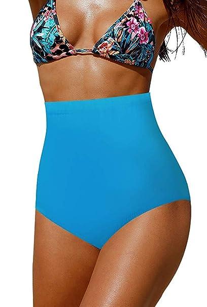06bf2527ea CASTDREAM Women's Girl's High Waist Swimming Bottoms Plus Size Sexy Bikini  Bottoms Blue Small CAS10001-