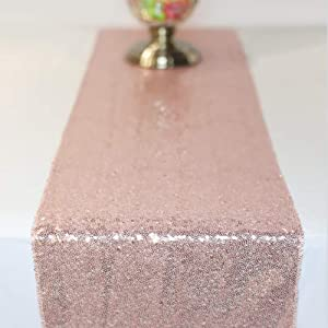 FancyGift 2pcs 11.5 x 108-inch Glitter Rose Gold Sequin Table Runner for Wedding Birthday Party Home Festival Baby Shower Decorations Celebrations and Events