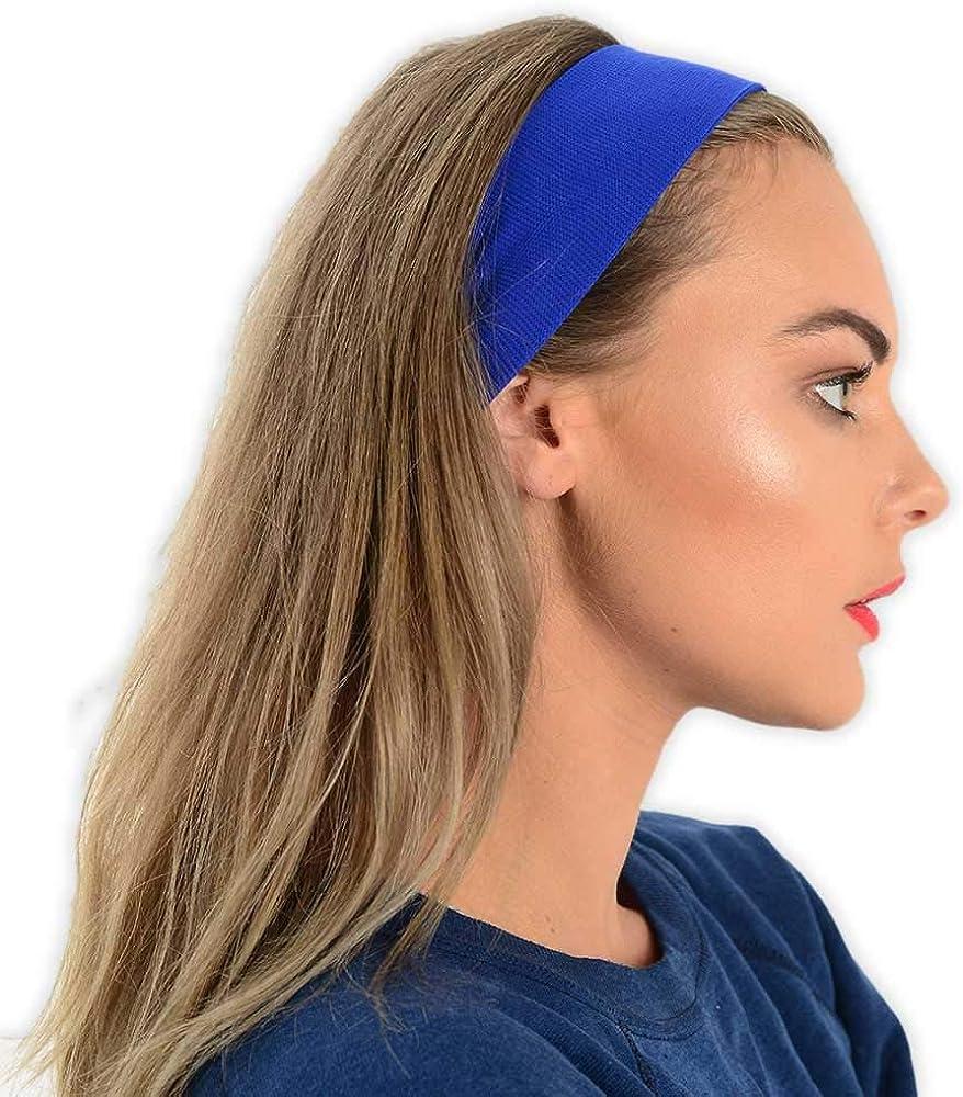 Headband Sweatband One Size Elastic Sport Fancy Dress Many Colours