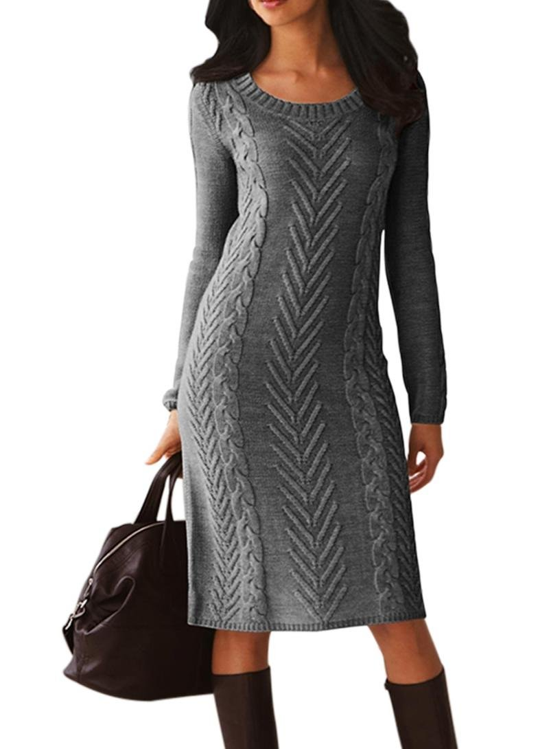 Women's Casual Long Sleeve Crew Neck Slim Fit Cable Knit Pullover Sweater Bodycon Pencil Midi Dress Knee Length Solid Grey M 8 10