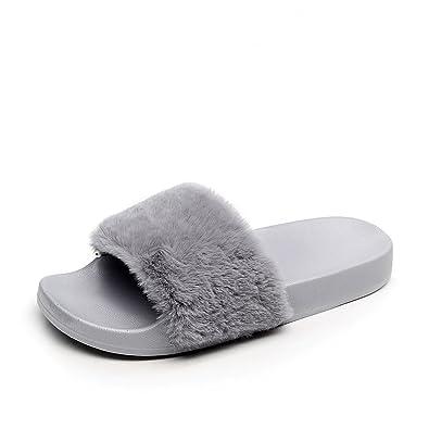 APIKA Damen Flip Flop Kunstpelz Slipper Fuzzy Fluffy Comfy Sliders Offene Zehe  Rosa