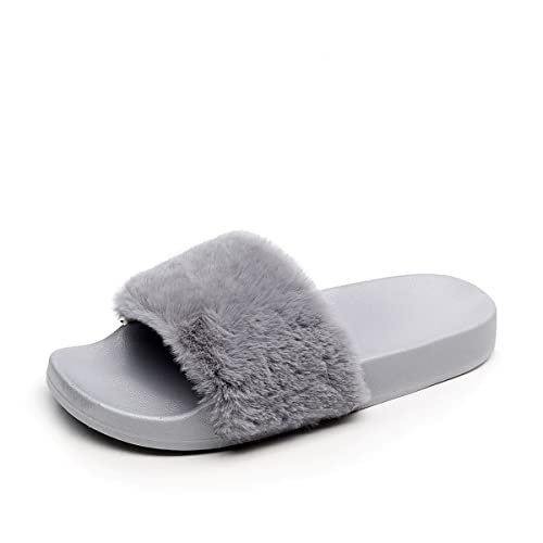 f2db9d09702df APIKA Women's Flip Flop Faux Fur Slipper Fuzzy Fluffy Comfy Sliders Open  Toe Slip on: Amazon.ca: Shoes & Handbags