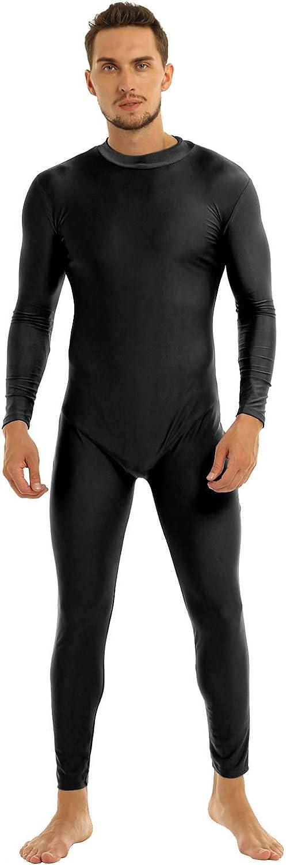 easyforever Mens Adult One Piece Turtleneck Long Sleeve Full Body Leotard Footless Bodysuit Dancewear