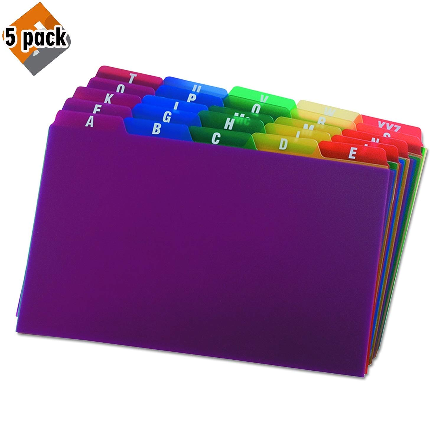 Oxford Poly Index Card Guides, Alphabetical, A-Z, Assorted Colors, 5'' x 8'' Size, 25 Guides per Set (73155) 5 Pack
