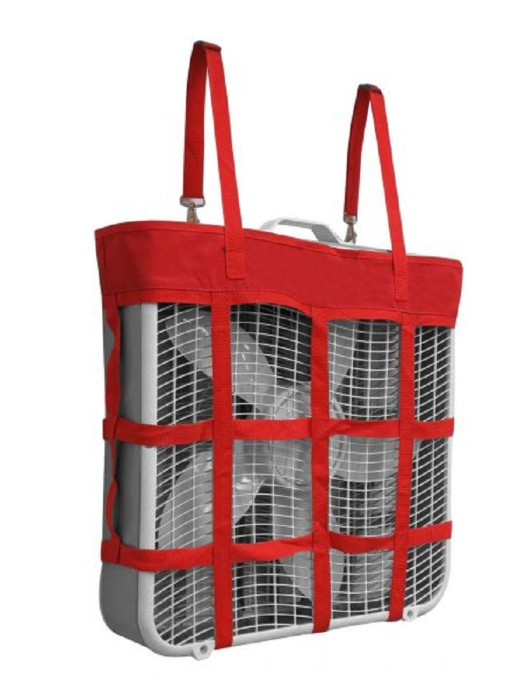 Showman RED Durable Nylon Box Fan Hay Bag Summer Adjustable Carrier Holder Harness