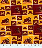 Cotton University of Minnesota Golden Gophers College Team Sports Cotton Fabric Print By the Yard