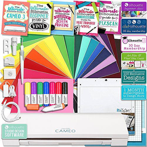 Silhouette Cameo 3 Bluetooth Educational Bundle Oracal Vinyl Sheets, Guides, Class, Membership