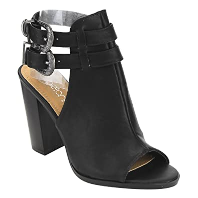 EI11 Women's Peep Toe Buckle Strap Chunky Stacked Heel Ankle Booties