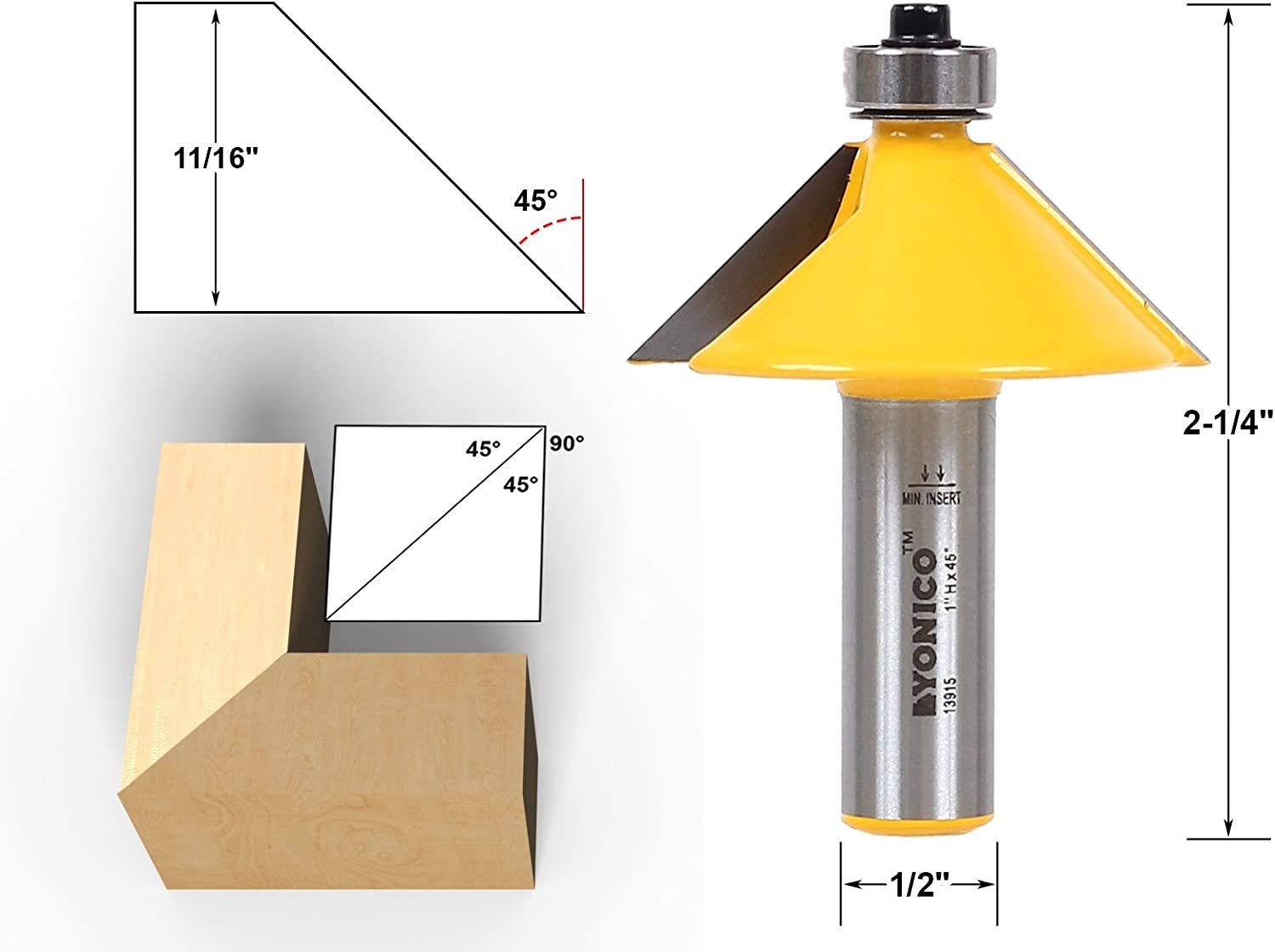 Yonico 13915 45 Degree Bevel Edge Forming Router Bit 1/2-Inch Shank