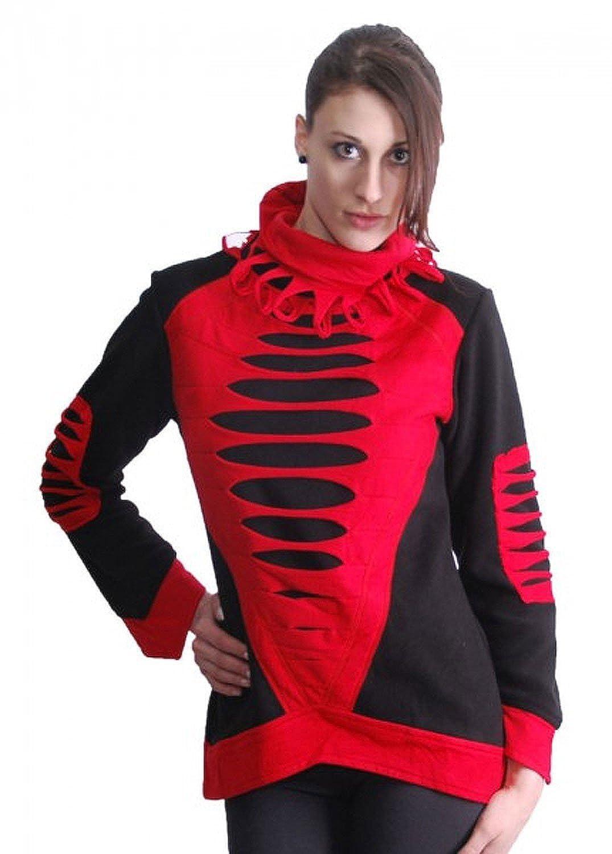 Elfen Fleece Pullover mit Rollkragen in Schwarz/Rot Cyber Goa
