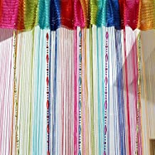 Multi-colored Drop Beaded Tassel String Curtain Door Window Home Decor Divider 1 x 2M