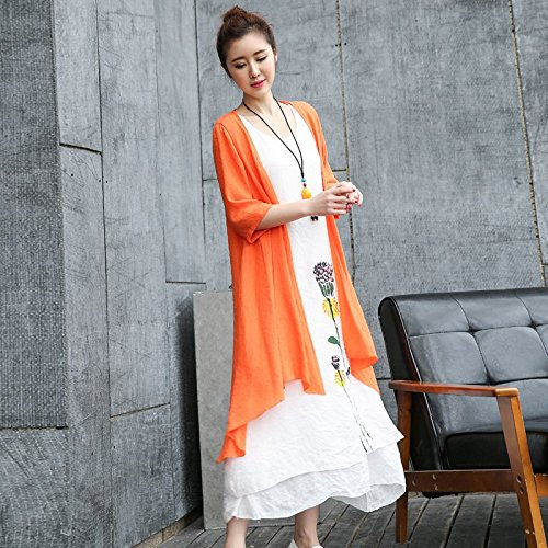 MiGMV?Robe de Coton, Lin, Robe, vtements pour Femmes, Long Style, Style National, Deux pices, Robe Ample. Orange red orange outer cloak and white skirt to send Necklace