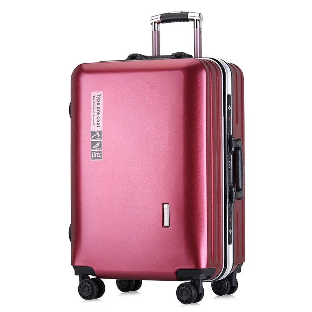 旅行スーツケース、 シンプルなアルミフレームトロリーケース男性と女性のための24インチキャスター荷物20インチ搭乗ケース男性と女性スーツケース荷物シャーシパスワード荷物(5色オプション) (色 : 赤, サイズ : 24Inch) B07VC35CXK 赤 24Inch