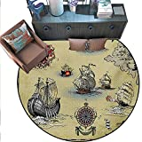 Basic Coffee Table Plans Compass Round Rug Kid Carpet Antique Old Plan Discovery Ship Pirate Wave Compass Navigation Geography Theme Circle Rugs Living Room (79