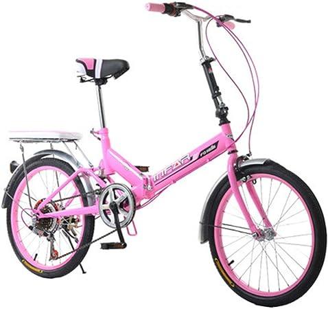 Paseo Bicicleta Plegable para Mujer Bicicleta De 6 Velocidades 20 Pulgadas con Ruedas, Velocidad Variable Bicicleta (Color : Pink, Size : 155 * 111 * 25cm): Amazon.es: Hogar