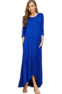 72f0ced4664 Annabelle Women s Round Neck 3 4 Sleeves Ruffle Hi Low Hem Maxi Dresses  with Pockets