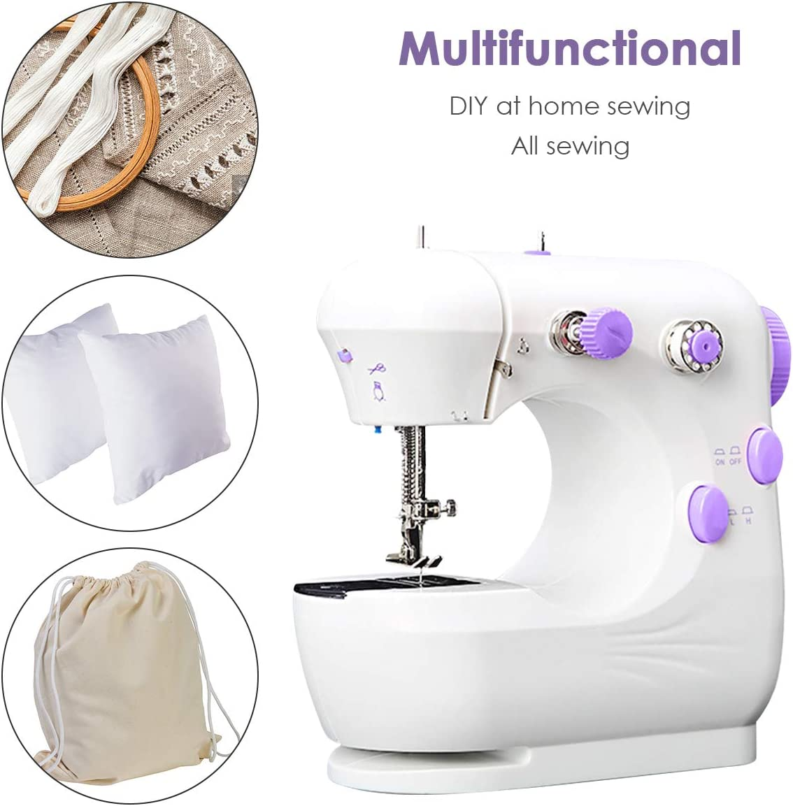 SOONHUA Mini Sewing Machine Electric Sewing Machine Multi-Function Portable Crafting Sewing Machine with Foot Pedal Adjustable 2-Speed for Home Sewing