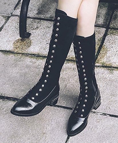 Rivet Mid Booties Pointy Women's Black Aisun Cool Toe Calf wAaq4cRYx