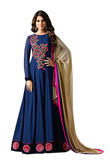 771e191b8a T I F Indian Women Designer Party Wear Navy Blue Anarkali Salwar Kameez  MF-10371